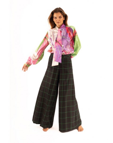 Flare Pantalon Checkered Pants