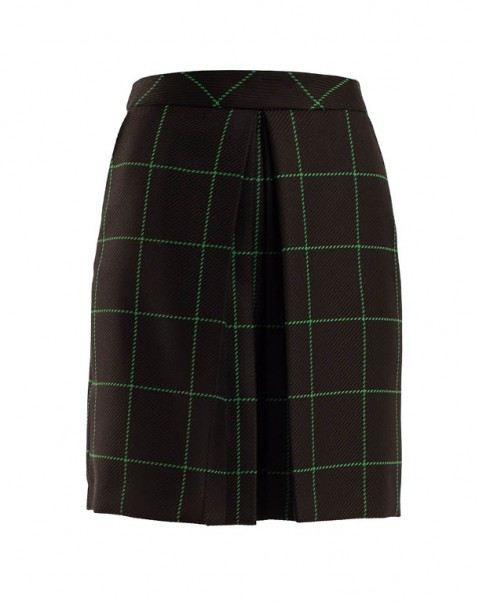 Evasée Checkered Skirt
