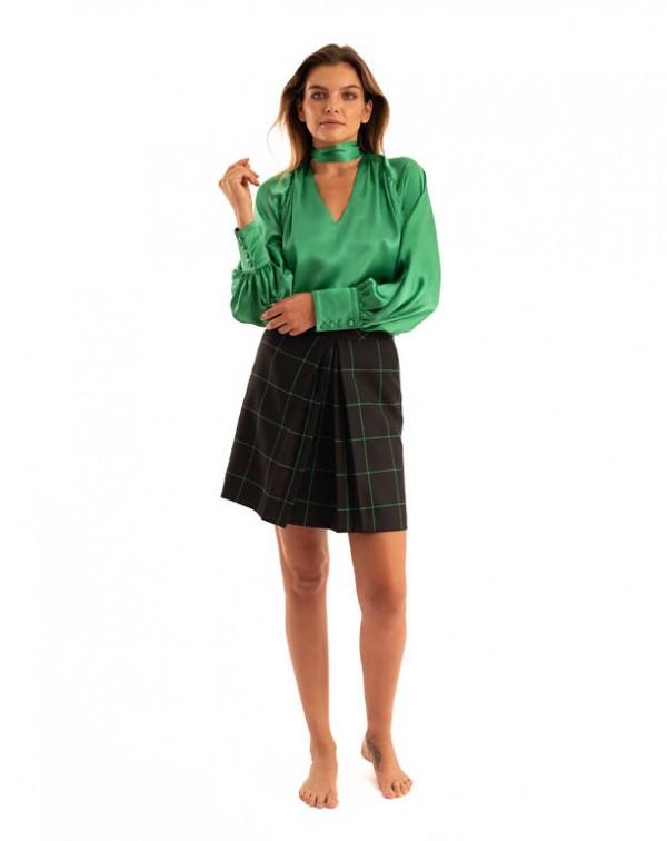 Evasée Checkered Skirt