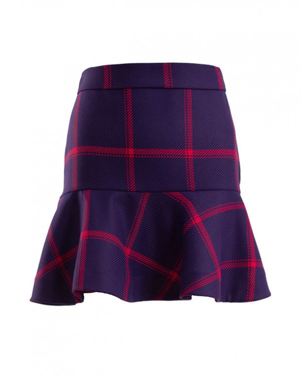 Checkered Mini Evasée Skirt
