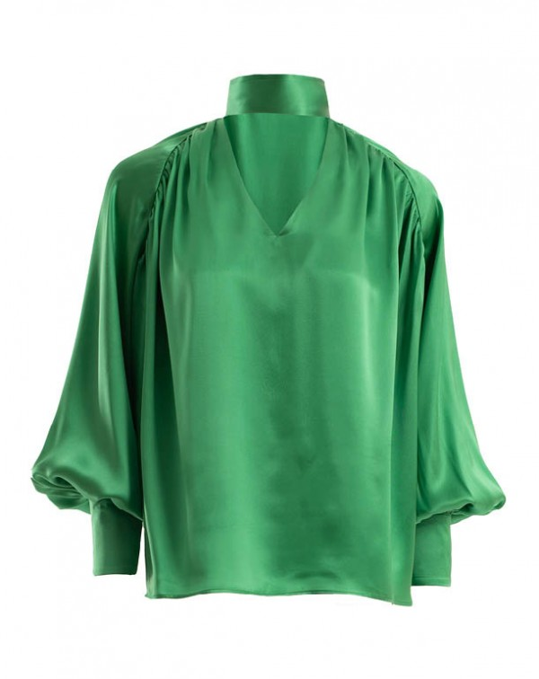 Silk Blouse Green
