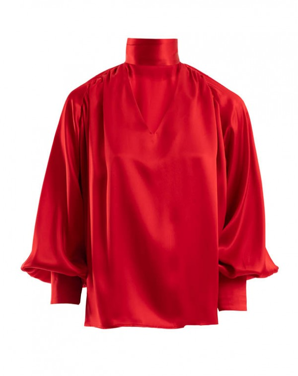 Natural Silk Shirt Red