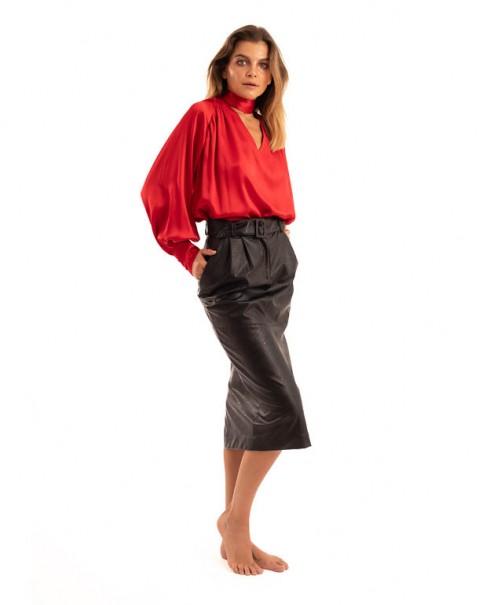 Natural Silk Shirt Red