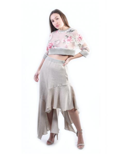 Asymmetric Linen Skirt
