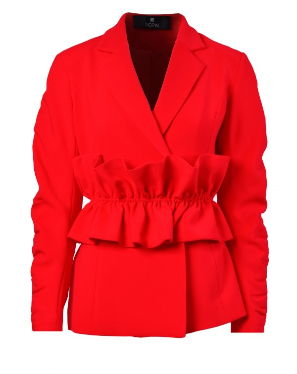 Blazer with Ruffled Belt