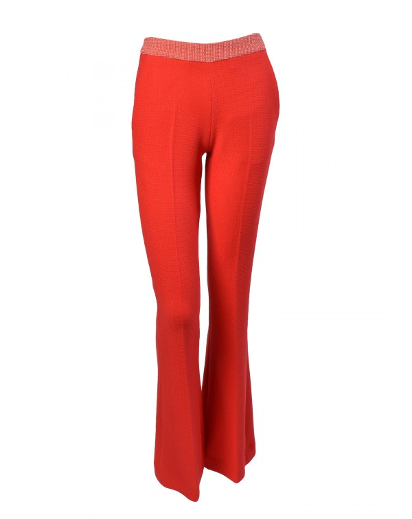 Flare Pique Pants with contrast