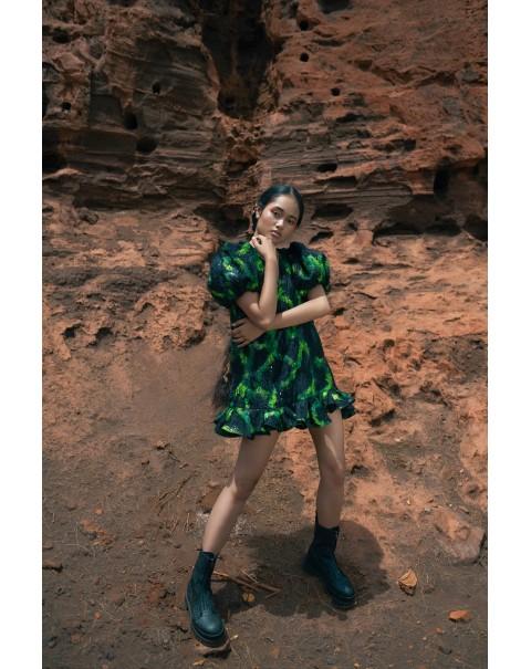 Green and Black Sequined V-neck Dress