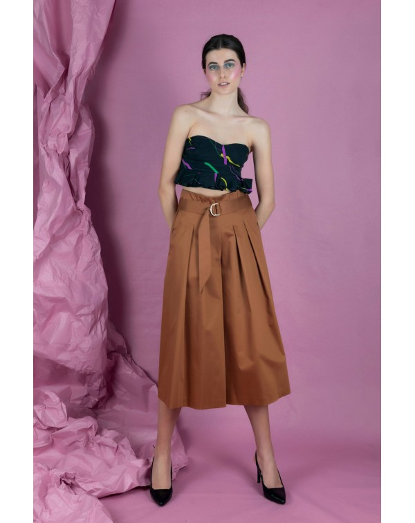 Wide Caramel Culottes with Pleats