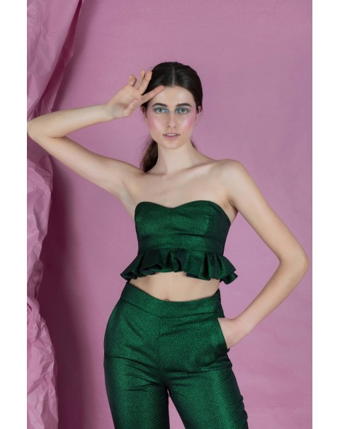 Glossy Green Bandeau Top