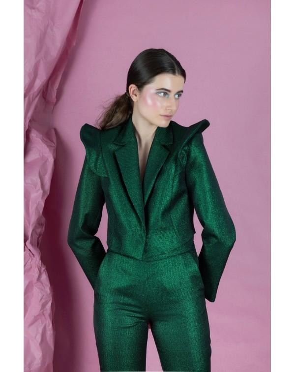 Glossy Green Short Blazer