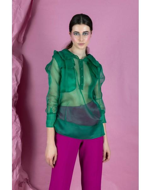 Green Silk Organza Blouse with Hood