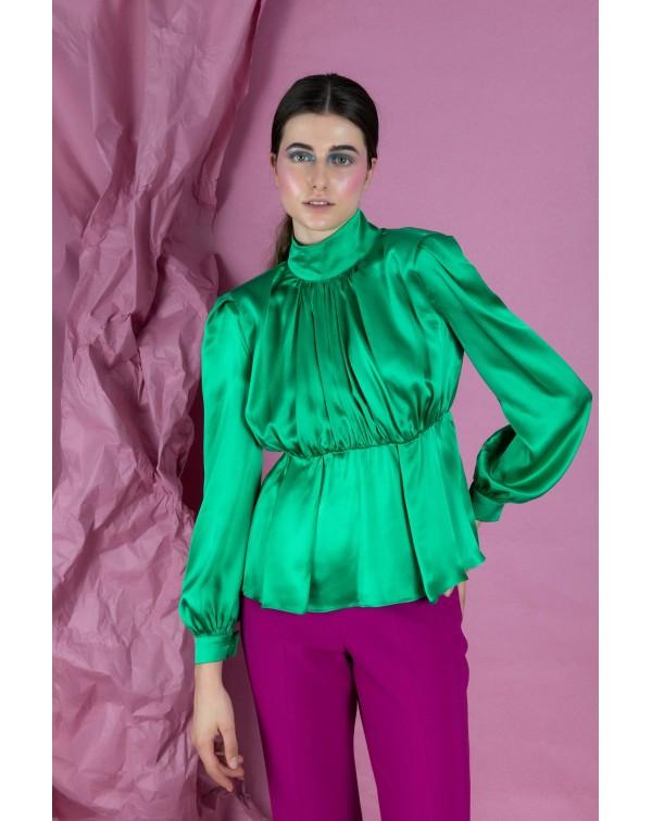 Ruffled Green Silk Blouse