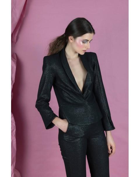 Shiny Black Blazer with Shoulder Pads