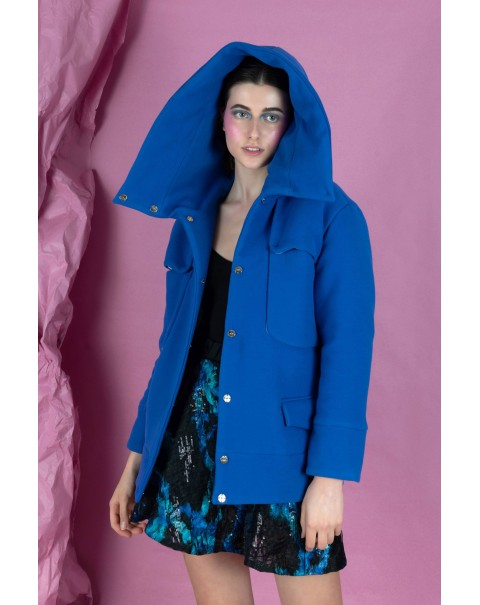 Oversized Blue Jacket with Hood