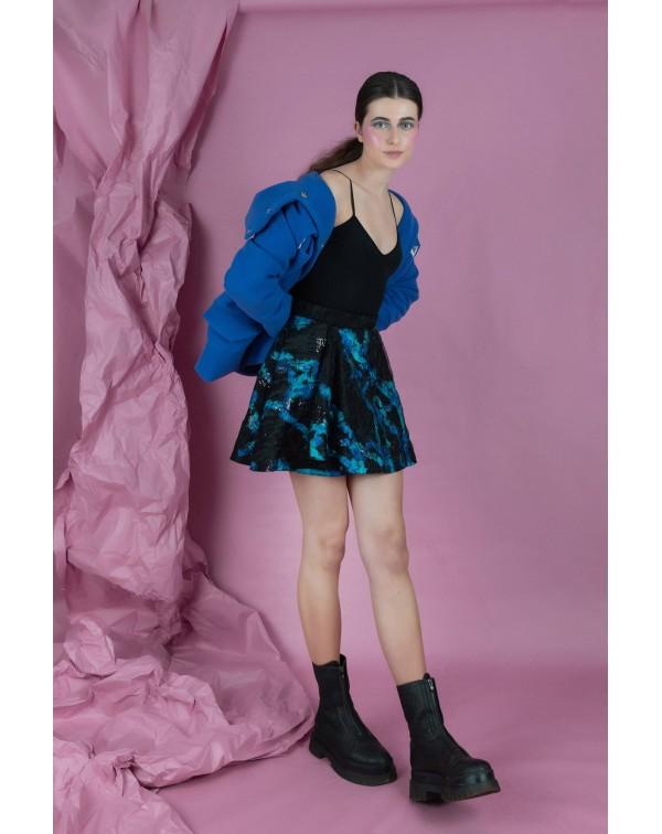 Blue and Black Evasé Skirt