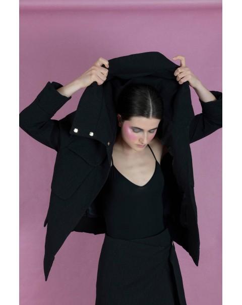 Oversized Black Jacket with Hood