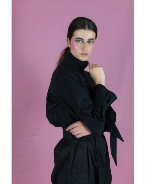 Pleated Black Jumpsuit