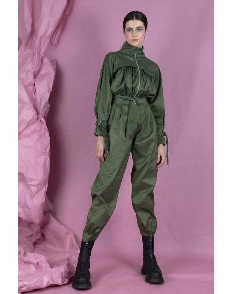 Pleated Olive Green Jumpsuit