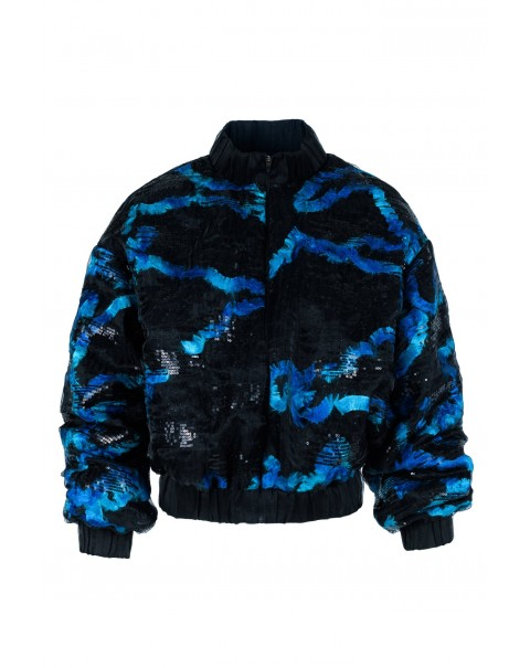 Blue and Black Sequin Bomber