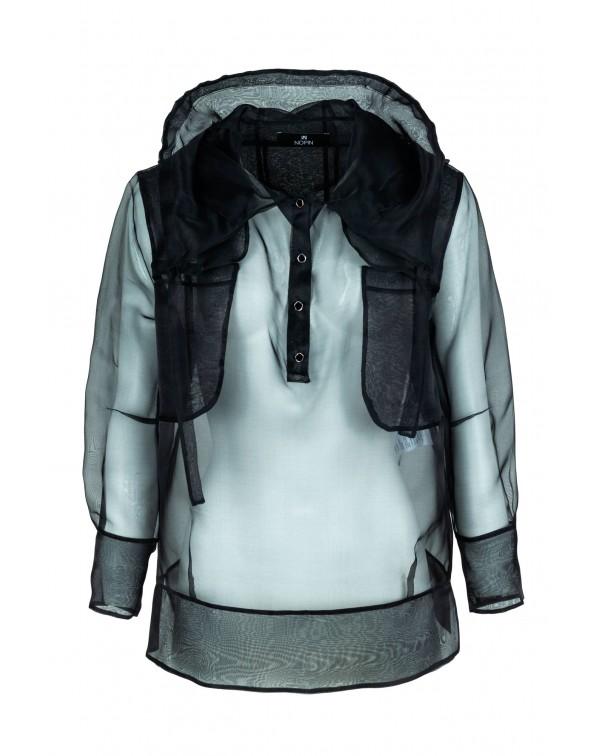 Black Silk Blouse with Hood