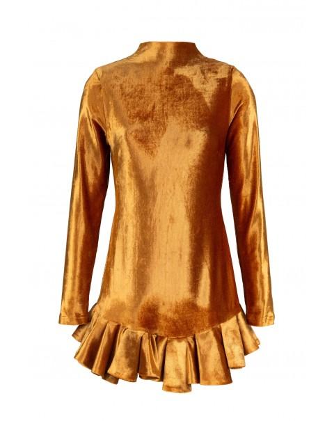 Bronze Velvet Dress with Ruffles
