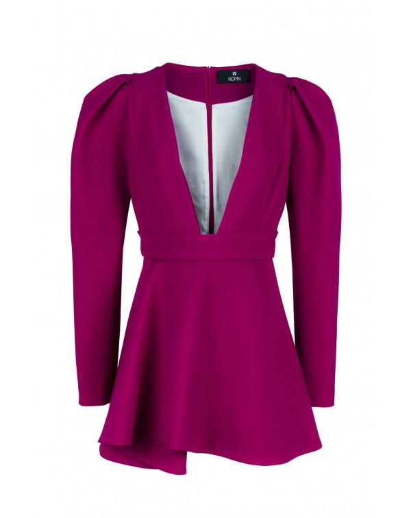 Purple V-neck Evasé Dress