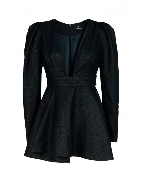 Shiny Black V-neck Evasé Dress