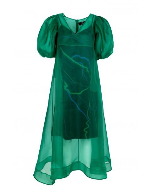 Green Silk Organza Dress