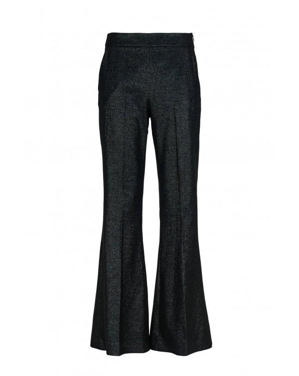 Glossy Black Bell Pants