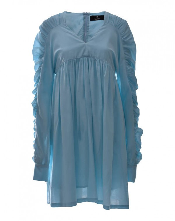 Dress V Sleeves Blue