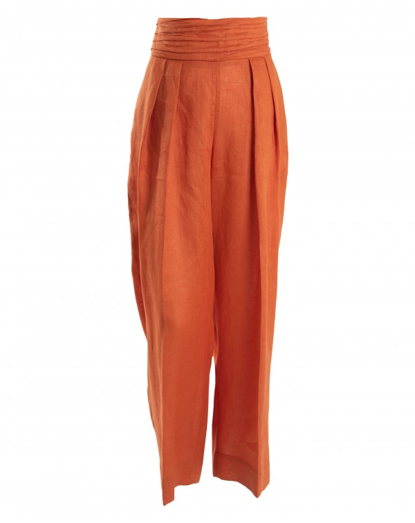 Orange Linen Wide Pants