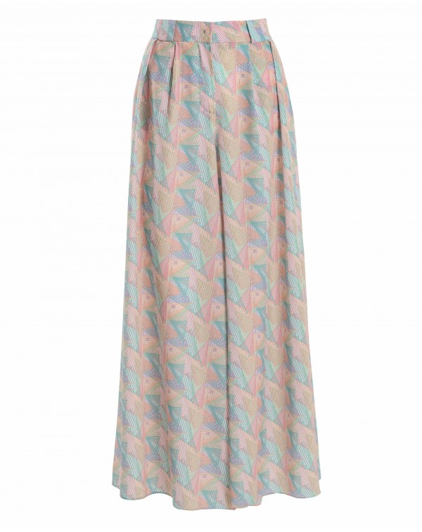 Multicolored Printed Super Wide Pants