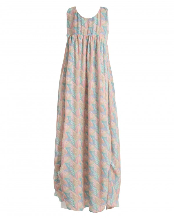 Multicolored Long Printed Dress