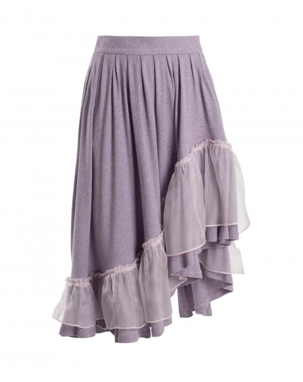 Lilac Ruffle Midi Skirt