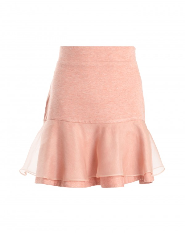 Light Orange Organza Ruffle Skirt