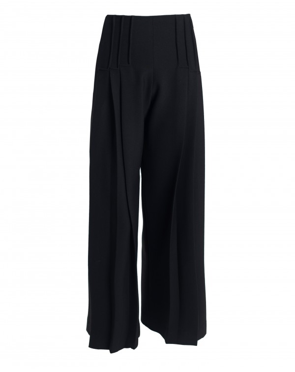 Black Ribbed Wide Pants