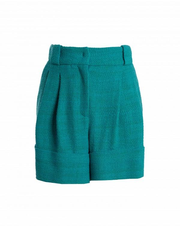 Blue Pleated Shorts