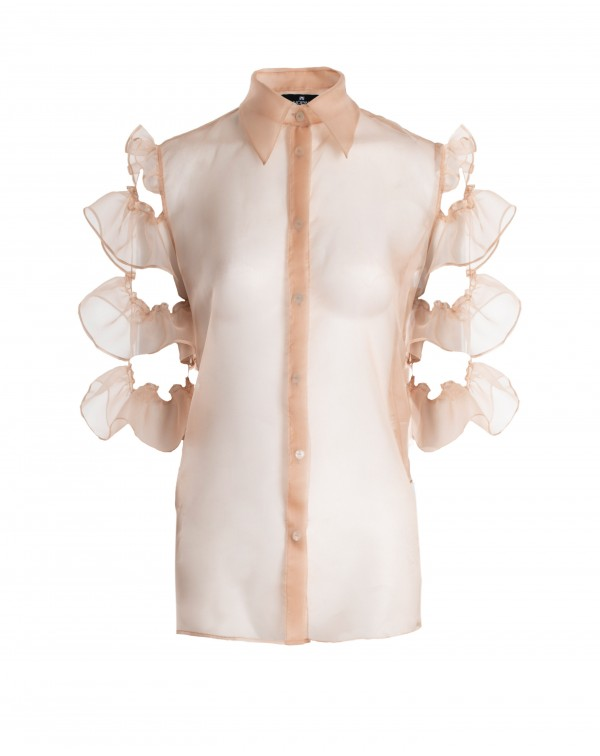 Light Orange Ruffle Organza Shirt