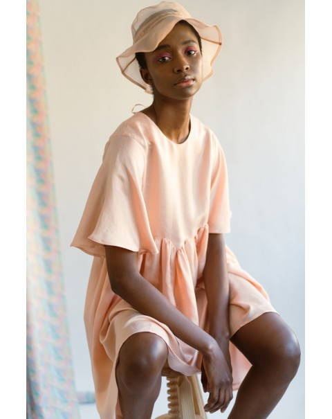 Salmon Organza Bucket Hat