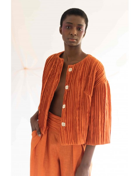 Orange Draped Coat