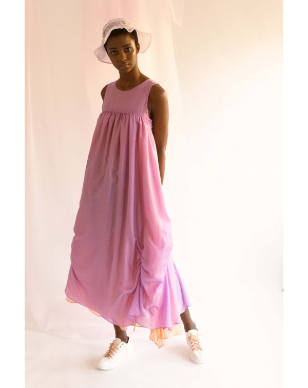 Lilac Long Silk Dress