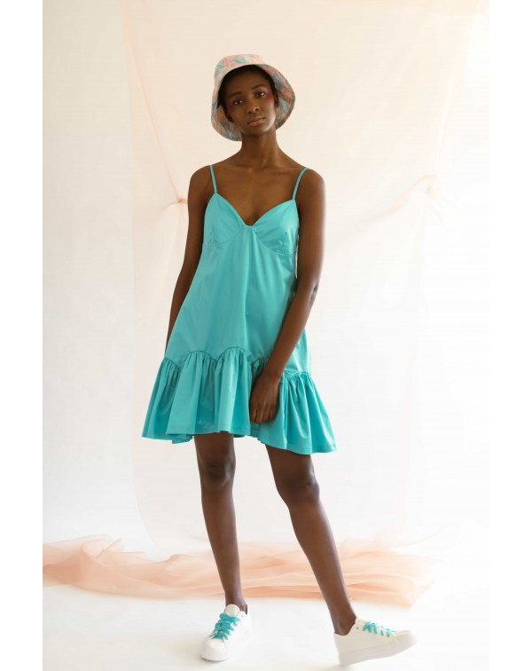 Blue Slip Bud Dress