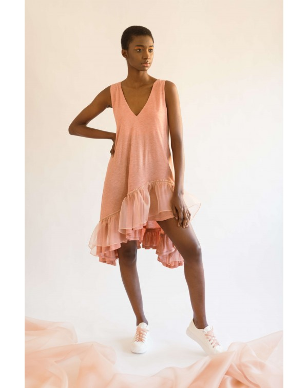 Light-Orange Organza Ruffle Dress