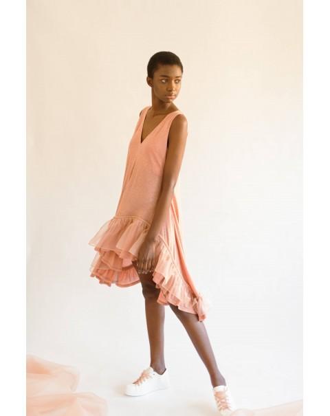 Light-Orange Organza Ruffle Dress