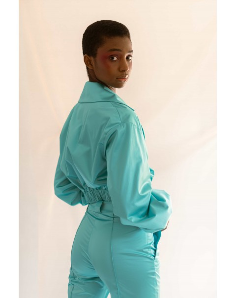 Blue Skinny Ribbed Pants