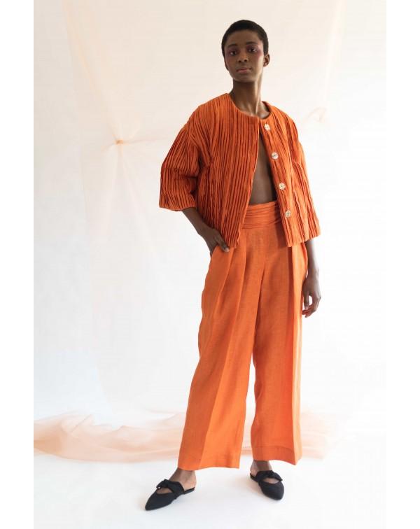 Orange Linen Wide Pants