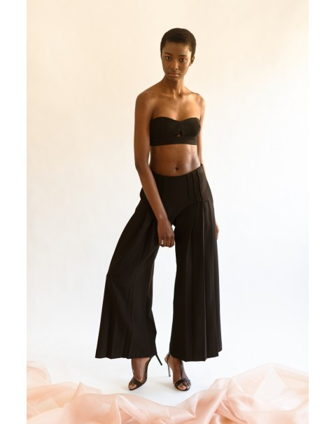 Black Ribbed Wide Pants