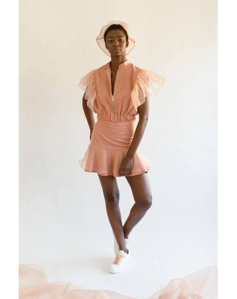 Light Orange Organza Ruffle Skirt
