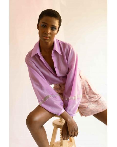 Lilac NOPIN Silk Shirt
