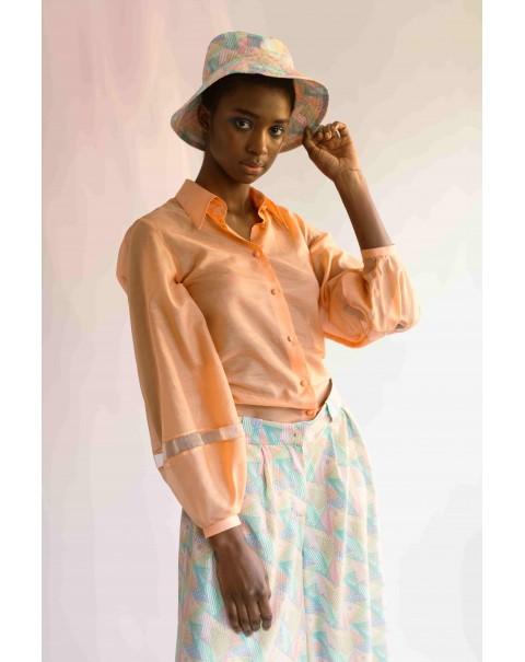 NOPIN Light Orange Silk Shirt